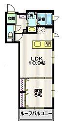 東急大井町線 戸越公園駅 徒歩8分の賃貸マンション 4階1LDKの間取り