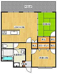 福岡県特定優良賃貸住宅ガーデンハウスゆうの森[207号室]の間取り