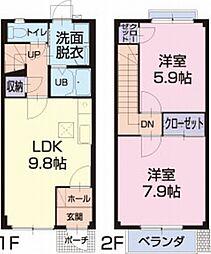 名鉄西尾線 上横須賀駅 徒歩10分の賃貸アパート 1階2LDKの間取り