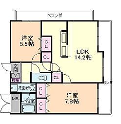 兵庫県伊丹市森本2丁目の賃貸マンションの間取り