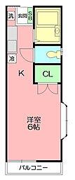 スカイ平塚[205号室]の間取り