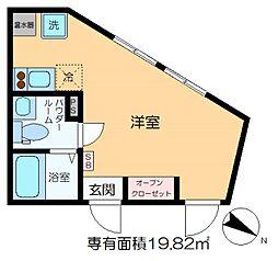 m-station 4階ワンルームの間取り