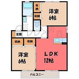 栃木県下都賀郡野木町大字丸林の賃貸アパートの間取り