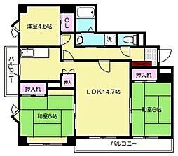 福岡県福岡市博多区東光寺町2丁目の賃貸マンションの間取り