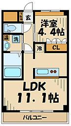 京王相模原線 稲城駅 徒歩14分の賃貸マンション 2階1LDKの間取り