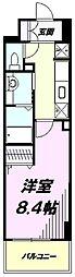 JR中央線 豊田駅 徒歩4分の賃貸マンション 6階1Kの間取り