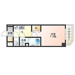 阪神なんば線 九条駅 徒歩8分の賃貸マンション 3階1Kの間取り