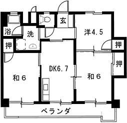 第3三城ハイツ[303号室]の間取り