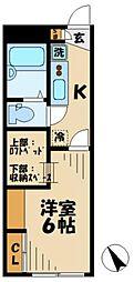 京王相模原線 稲城駅 徒歩6分の賃貸アパート 1階1Kの間取り
