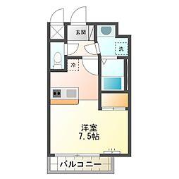 マンション プラット 9階ワンルームの間取り