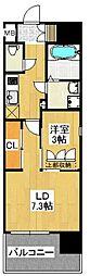 福岡市地下鉄空港線 天神駅 徒歩5分の賃貸マンション 7階2Kの間取り