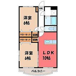 栃木県栃木市城内町2丁目の賃貸マンションの間取り