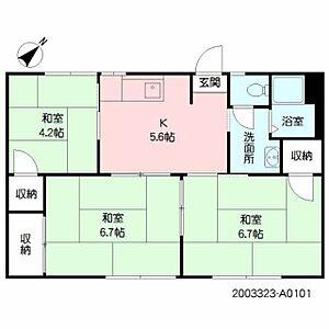 間取り,3DK,面積47.26m2,賃料3.6万円,,,大分県中津市大字大悟法73-10