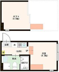 (仮称)梅田5丁目Aコーポ 2階ワンルームの間取り