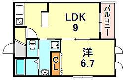 Casa魚崎北町 3階1LDKの間取り