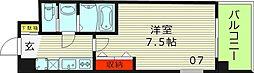 Luxe鶴見(ラグゼ鶴見) 7階1Kの間取り
