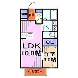 埼玉県川口市東領家1丁目の賃貸アパートの間取り