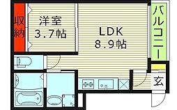 ハーモニーテラス野江 3階1LDKの間取り