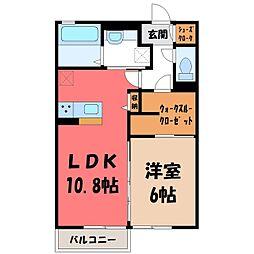(仮)D-room野木町友沼 B 2階1LDKの間取り