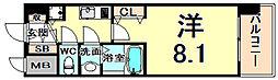 西宮ルモンド甲子園 1階1Kの間取り