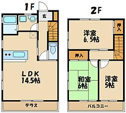 西武多摩川線 競艇場前駅 徒歩5分の賃貸テラスハウス 2階3LDKの間取り