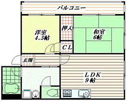 兵庫県神戸市灘区千旦通3丁目の賃貸マンションの間取り