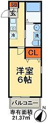 つくばエクスプレス 三郷中央駅 徒歩5分の賃貸アパート 2階1Kの間取り