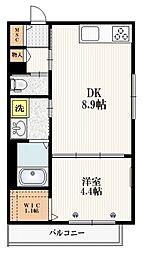 JR埼京線 赤羽駅 徒歩15分の賃貸マンション 2階1DKの間取り