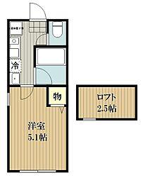 西武池袋線 清瀬駅 徒歩15分の賃貸アパート 2階1Kの間取り