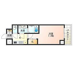 JR東西線 海老江駅 徒歩11分の賃貸マンション 5階1Kの間取り