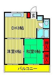 サンハイムKAZU[2階]の間取り