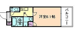 Osaka Metro堺筋線 南森町駅 徒歩3分の賃貸マンション 12階1Kの間取り