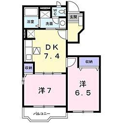 神奈川県伊勢原市東大竹2丁目の賃貸アパートの間取り