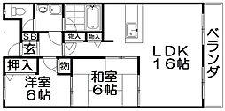 ニューハイツ花水木[4階]の間取り