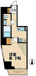 京王線 府中駅 徒歩7分の賃貸マンション 4階1Kの間取り