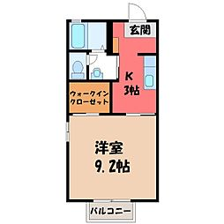 茨城県筑西市外塚の賃貸アパートの間取り