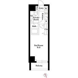 GRAN PASEO 新大塚 3階ワンルームの間取り