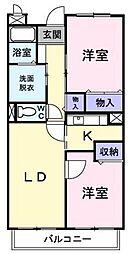 JR高崎線 行田駅 徒歩18分の賃貸マンション 1階2LDKの間取り
