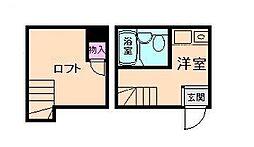 Osaka Metro谷町線 都島駅 徒歩3分の賃貸アパート 1階ワンルームの間取り