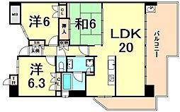 阪急甲陽線 甲陽園駅 徒歩10分の賃貸マンション 3階3LDKの間取り