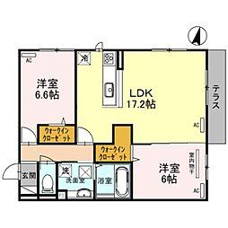 JR阪和線 百舌鳥駅 徒歩7分の賃貸アパート 1階2LDKの間取り