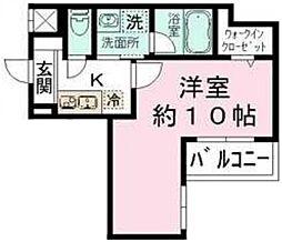 レオ伍拾八番館 1階1Kの間取り