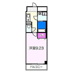 JR阪和線 三国ヶ丘駅 徒歩4分の賃貸マンション 6階1Kの間取り