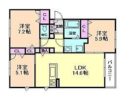 アバンス 3階3LDKの間取り