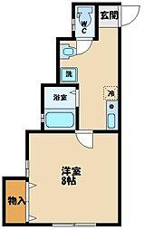 多摩都市モノレール 程久保駅 徒歩3分の賃貸アパート 2階1Kの間取り