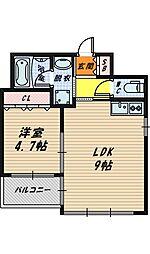 大阪府大阪市城東区鴫野西5丁目の賃貸マンションの間取り