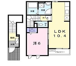 岡山県倉敷市中畝10丁目の賃貸アパートの間取り