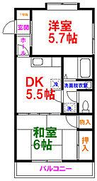 ルミエール昭島 1階2DKの間取り
