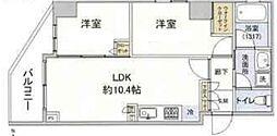 JR山手線 日暮里駅 徒歩6分の賃貸マンション 地下2階2LDKの間取り