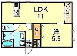 シャルマン ドゥムール 1階1LDKの間取り